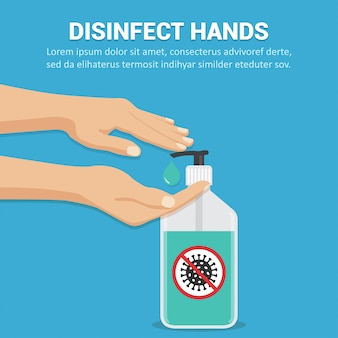 Désinfectez les mains avec le concept de gel désinfectant dans un design plat.