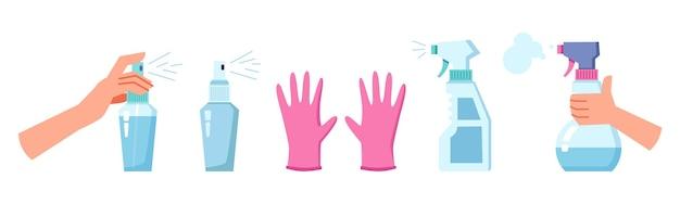 Désinfection et nettoyage des gants antiseptiques spray