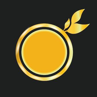 Desing de vecteur de tranche d'orange avec feuille