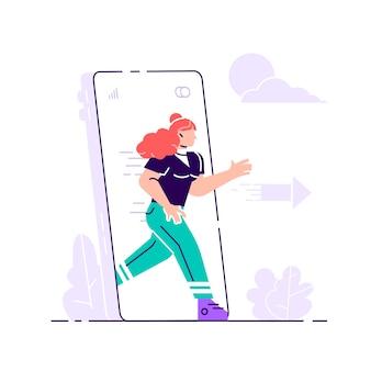 Désintoxication numérique. femme sortant de grand écran de téléphone mobile. échapper au smartphone