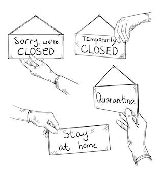 Désolé nous sommes fermés, panneaux d'avertissement de quarantaine tenus par une main dans un gant de protection