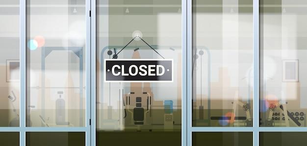Désolé, nous sommes fermés signe accroché à l'extérieur sport gym coronavirus pandémie quarantaine