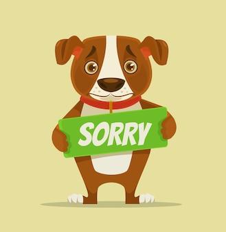 Désolé, le personnage de chien tient une plaque d'excuses