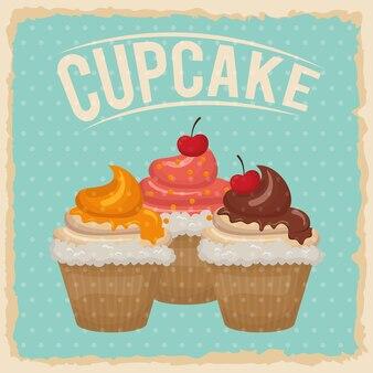 Dessert et concept sucré représenté par l'icône de cupcake
