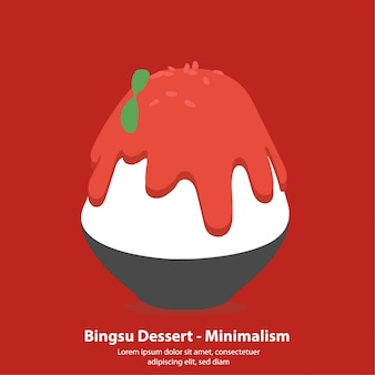 Dessert coréen aux fraises bingsu ou kakikori - vector illustration minimalisme
