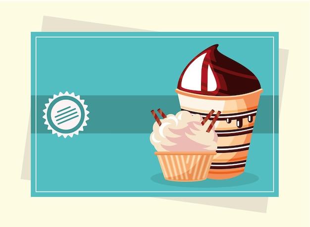 Dessert cupcake glace sucré alimentaire