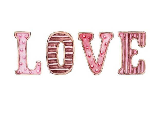 Dessert dessiné main aquarelle lettres douces aiment les cookies isolés