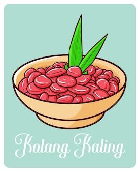 Dessert du ramadan d'indonésie dans un style simple doodle