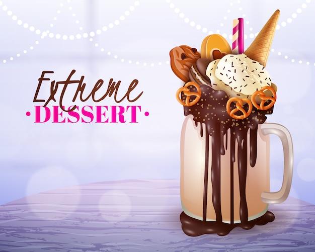 Dessert extrême brouillé affiche de fond clair
