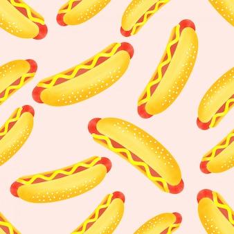 Dessert de modèle sans couture hot-dog mignon aquarelle