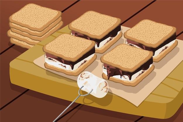Dessert plat s'mores illustré