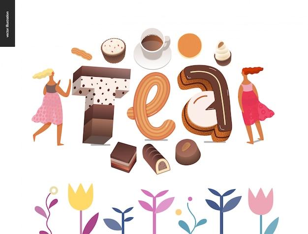 Dessert polices lettrage thé