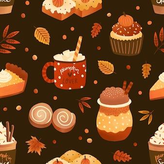 Dessert de saison d'automne et boisson modèle sans couture de vecteur plat