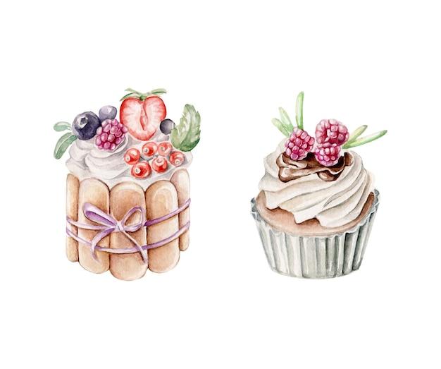 Desserts aquarelle décorés de baies