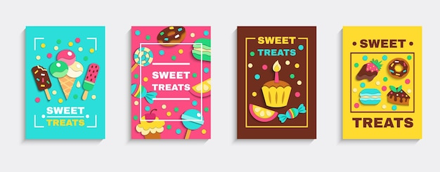 Desserts au four sucrés bonbons à la crème glacée party traite 4 affiches publicitaires de confiserie colorée mis en illustration vectorielle isolée