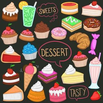 Desserts et bonbons clip art couleur doodle