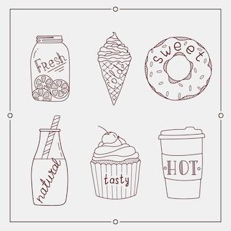 Desserts d'été dessinés à la main et des éléments de boisson.