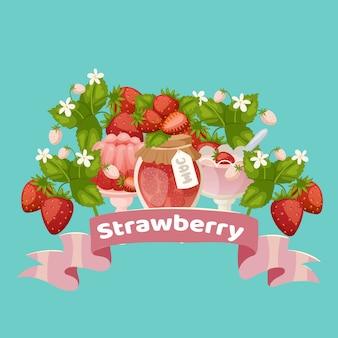 Desserts sucrés aux fraises avec confiture, gâteau, baies fraîches et jus avec illustration vectorielle de ruban rose dessin animé.