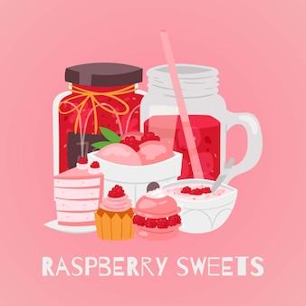 Desserts sucrés aux framboises avec crème glacée, gâteau, cupcakes aux baies, sorbet et jus boisson illustration de dessin animé.