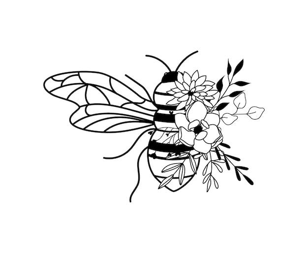 Dessin d'abeille fleur