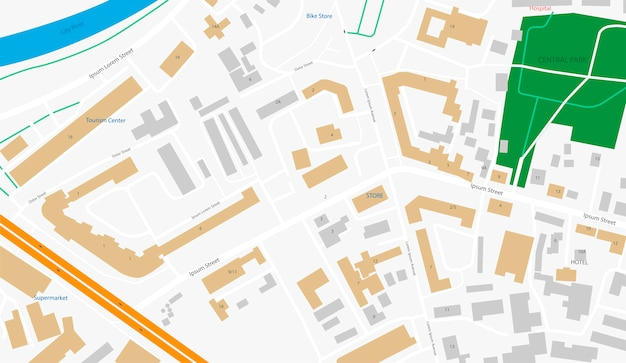 Dessin abstrait de carte de ville. illustration d'application mobile