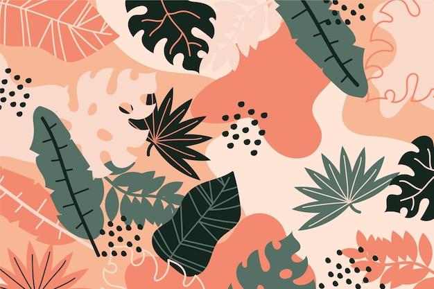 Dessin abstrait fond de feuilles tropicales