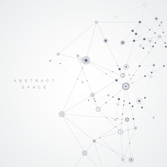 Dessin abstrait avec lignes et points composés