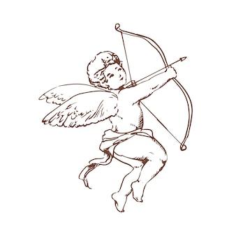 Dessin d'adorable cupidon avec arc visant ou tirant une flèche isolée. dieu de l'amour romantique, de la passion et du désir, personnage mythologique avec des ailes