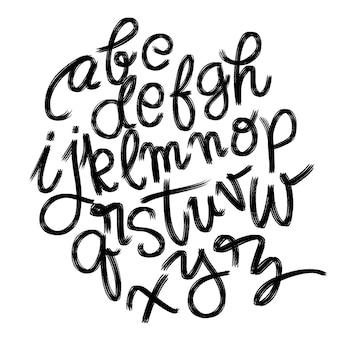 Dessin de l'alphabet dessiné main brosse vintage brosse avec brosse