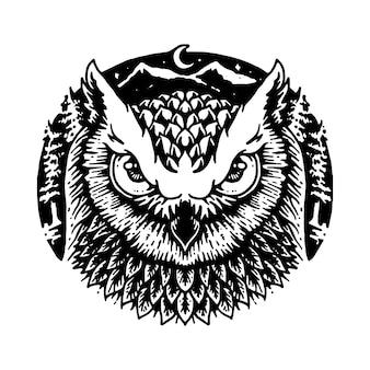 Dessin animalier graphique ligne illustration hibou vectoriel