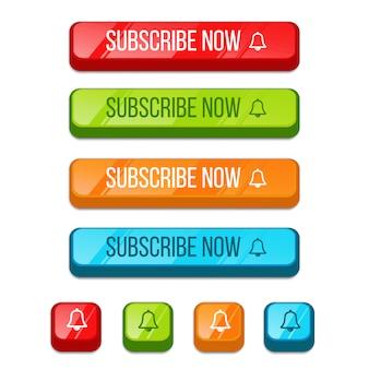 Dessin animé 3d abonnez-vous maintenant et collection de boutons de notification