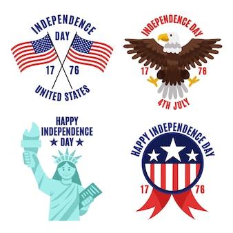 Dessin animé 4 juillet - collection d'étiquettes de la fête de l'indépendance