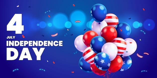 Dessin animé 4 juillet - fond de ballons de fête de l'indépendance