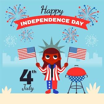 Dessin animé 4 juillet - illustration de la fête de l'indépendance
