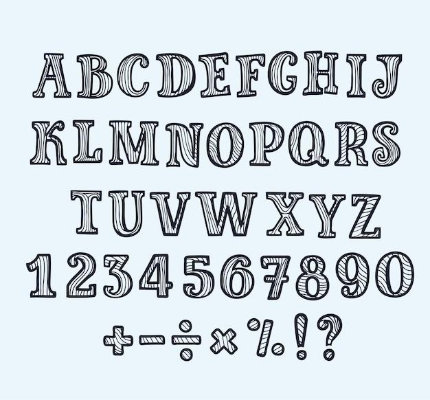 Dessin animé abc majuscule serif lettres dans le style de contour noir et blanc.