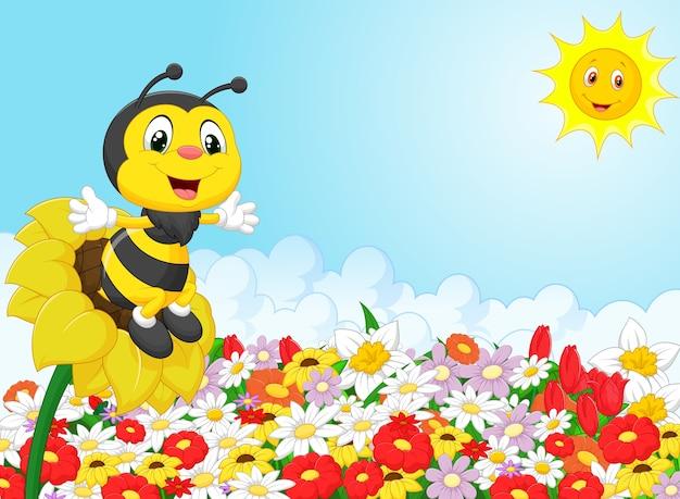 Dessin animé abeille assis sur la fleur