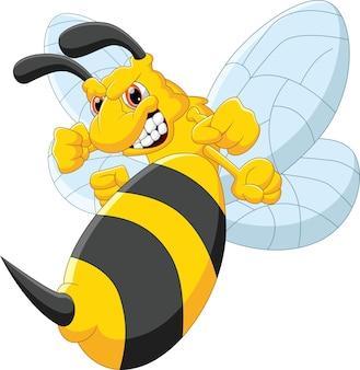 Dessin animé abeille en colère sur blanc