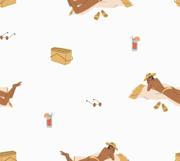 Dessin animé abstrait graphique d'été, modèle sans couture d'illustrations minimalistes avec une fille boho