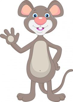 Dessin animé agitant une souris mignonne