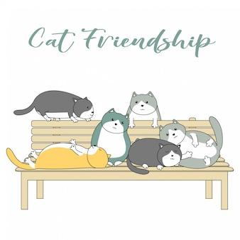 Dessin animé d'amitié de chat mignon dessinée à la main