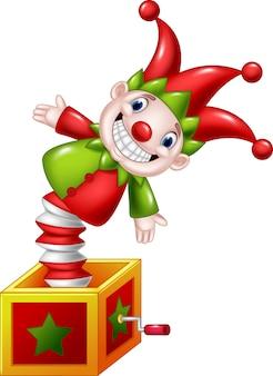 Dessin animé amusant jouet sautant d'une boîte