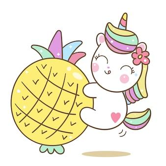 Dessin animé d'ananas mignon vecteur amour licorne