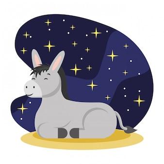 Dessin animé âne heureux dans la nuit