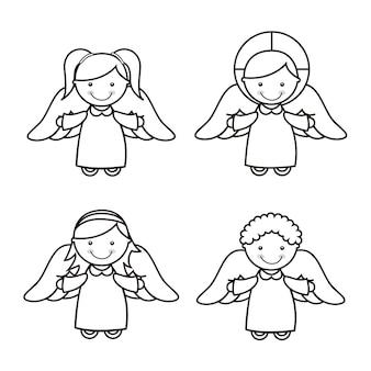 Dessin animé d'ange sur illustration vectorielle fond blanc