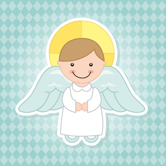 Dessin animé d'ange sur illustration vectorielle fond bleu