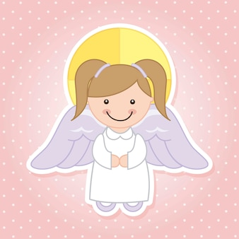 Dessin animé d'ange sur illustration vectorielle fond rose