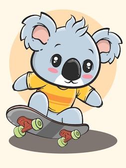 Dessin animé animal activité de plein air - koala jouant à la planche à roulettes