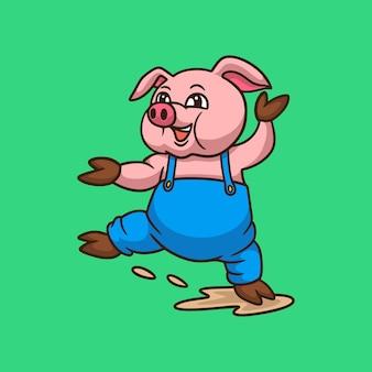 Dessin animé, animal, conception, danse, porcs, mignon, mascotte