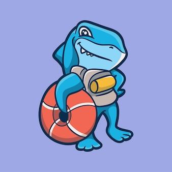Dessin animé, animal, conception, requins, porter, équipement plongée, mignon, mascotte