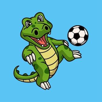 Dessin animé animal crocodile jouant au football logo mascotte mignon